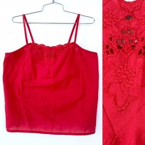 Vintage 80's red embroidered lace cotton tank top